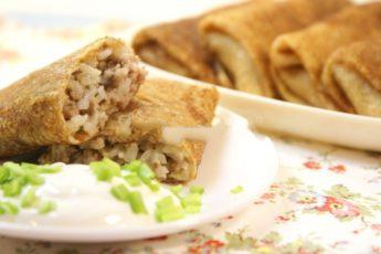 Блины с мясом и рисом - рецепт с пошаговым фото