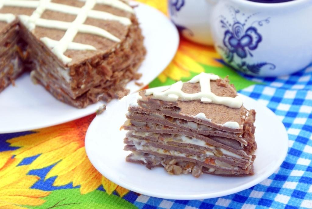 Блинный торт с печенью - пошаговый рецепт в домашних условиях