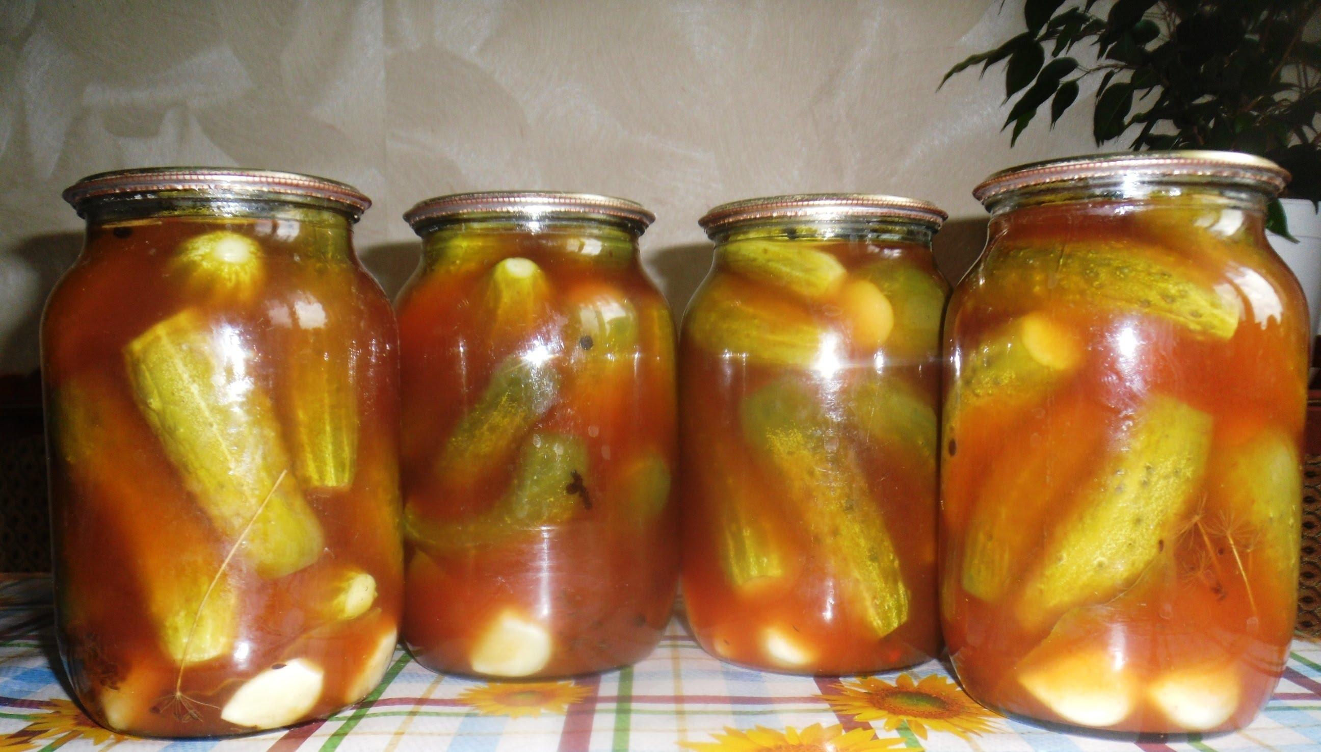 Консервированные огурцы с кетчупом рецепт с фото