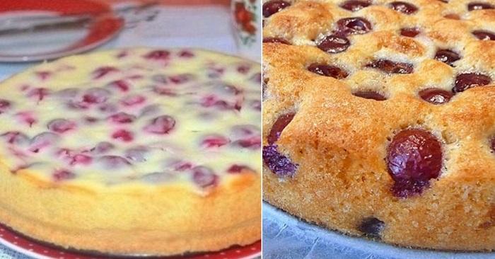 Отменный пирог с вишней на кефире. Попробуй всего раз этот рецепт, и он сразу станет твоим любимым!