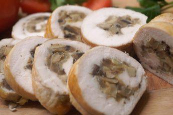 Куриный рулет с грибами и сыром!