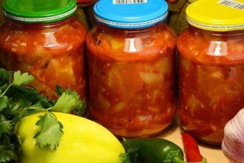 Улётный салат на зиму из кабачков, помидоров и болгарского перца