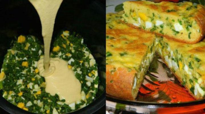 Быстрый пирог с яйцами и луком