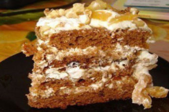торт на кефире с вареньем