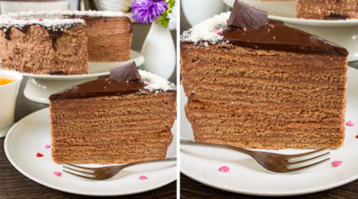Шоколадно-медовый торт