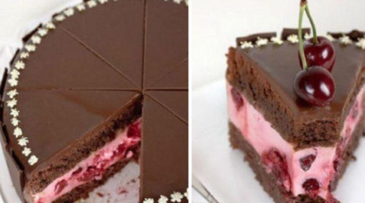 Шоколадный торт с вишневым кремом и ягодами