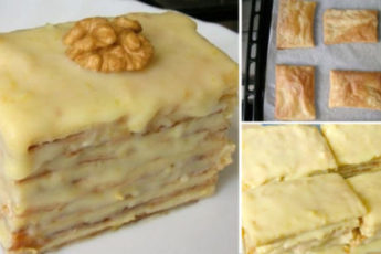 Слоеное пирожное со сгущенкой
