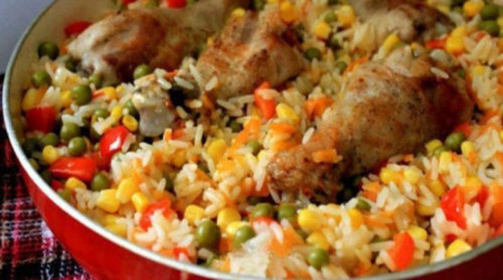 Ароматная курица с рисом и овощами по-каталонски