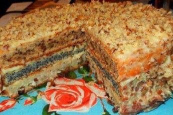 трехслойный домашний торт