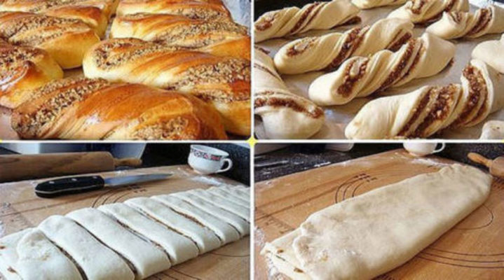 Сладкие булочки с ореховой начинкой