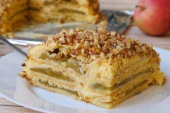 Яблочный торт с заварным кремом