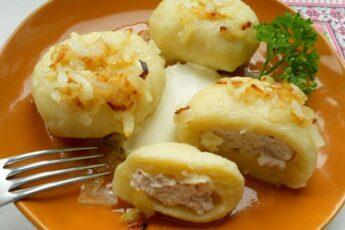 Галушки из картофеля с курицей