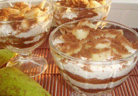 Творожный десерт с печеньем