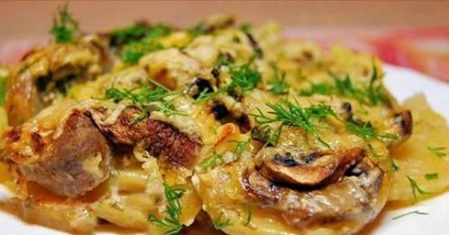 Картофель как из печи - с мясом и грибами