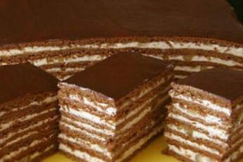 Вкусный шоколадно-медовый торт с заварным кремом