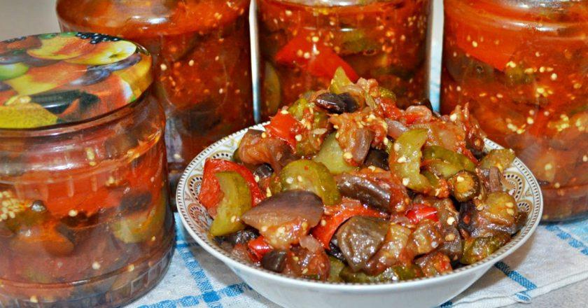 Салат из баклажанов и огурцов на зиму